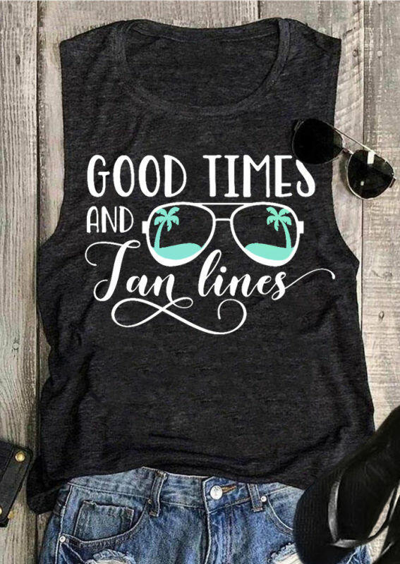 Good Times And Tan Lines Tank - Dark Grey