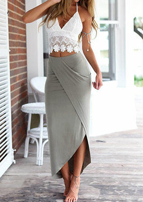 Open Back Lace Camisole + Long Skirt Outfit - Gray