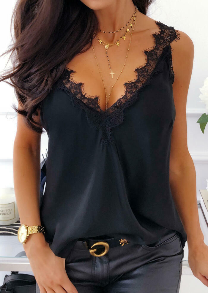Solid V Neck Lace Splicing Tank Black