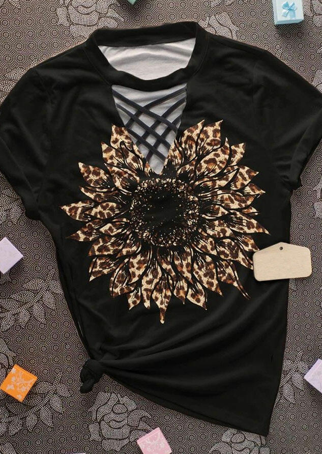 Sunflower Leopard Criss-Cross T-Shirt Tee - Black