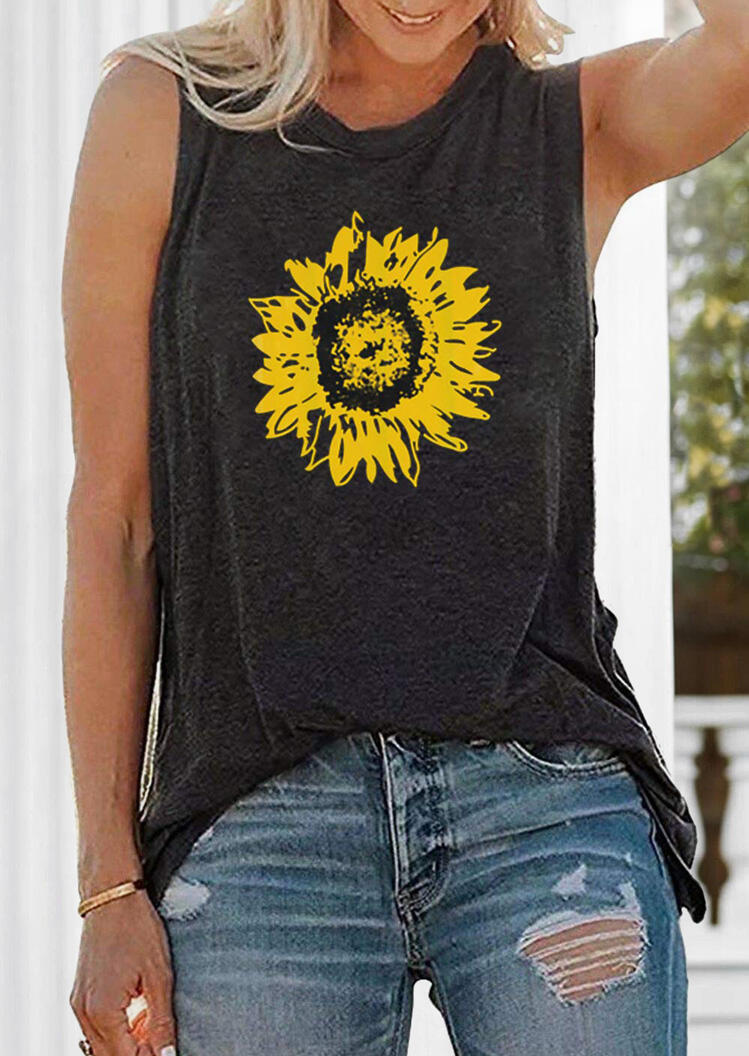 Sunflower Printed Tank - Dark Grey