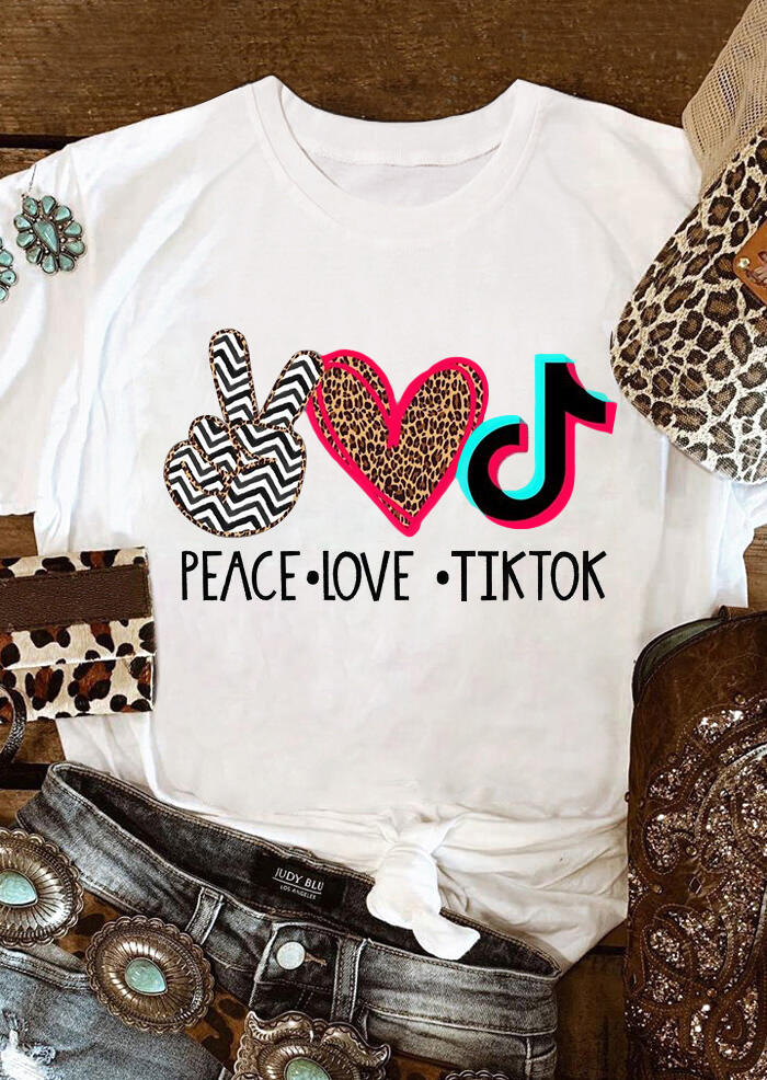 Leopard Peace Love Music T-Shirt Tee - White
