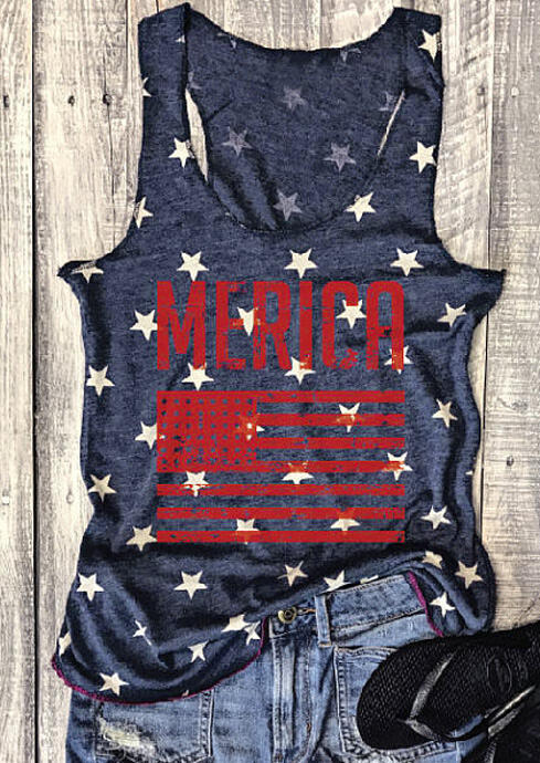 Merica American Flag Star Tank Top - Navy Blue