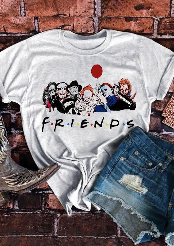 Halloween The PasyCho Bunch Friends O-Neck T-Shirt Tee - Gray