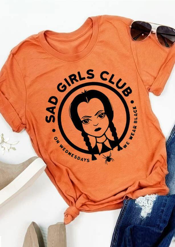 Halloween Sad Girls Club Spider T-Shirt Tee - Orange