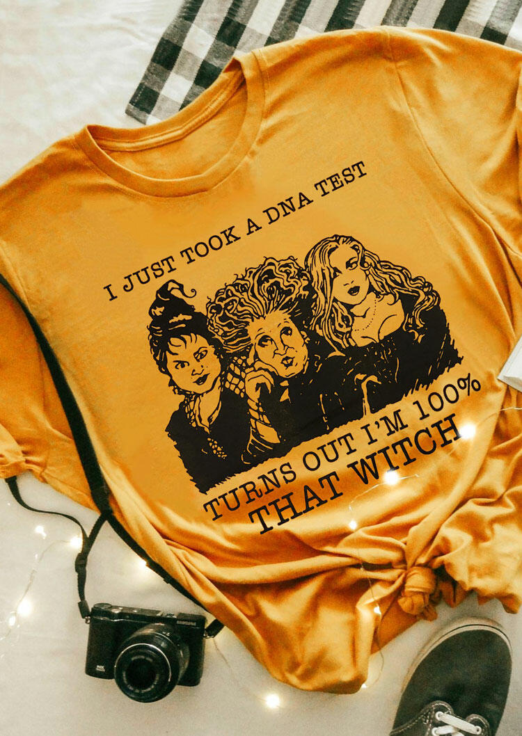 Halloween That Witch O-Neck Hocus Pocus T-Shirt Tee - Yellow