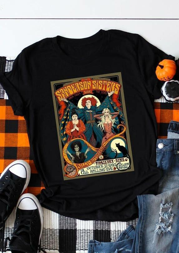 Halloween Hocus Pocus Sanderson Sisters T-Shirt Tee - Black