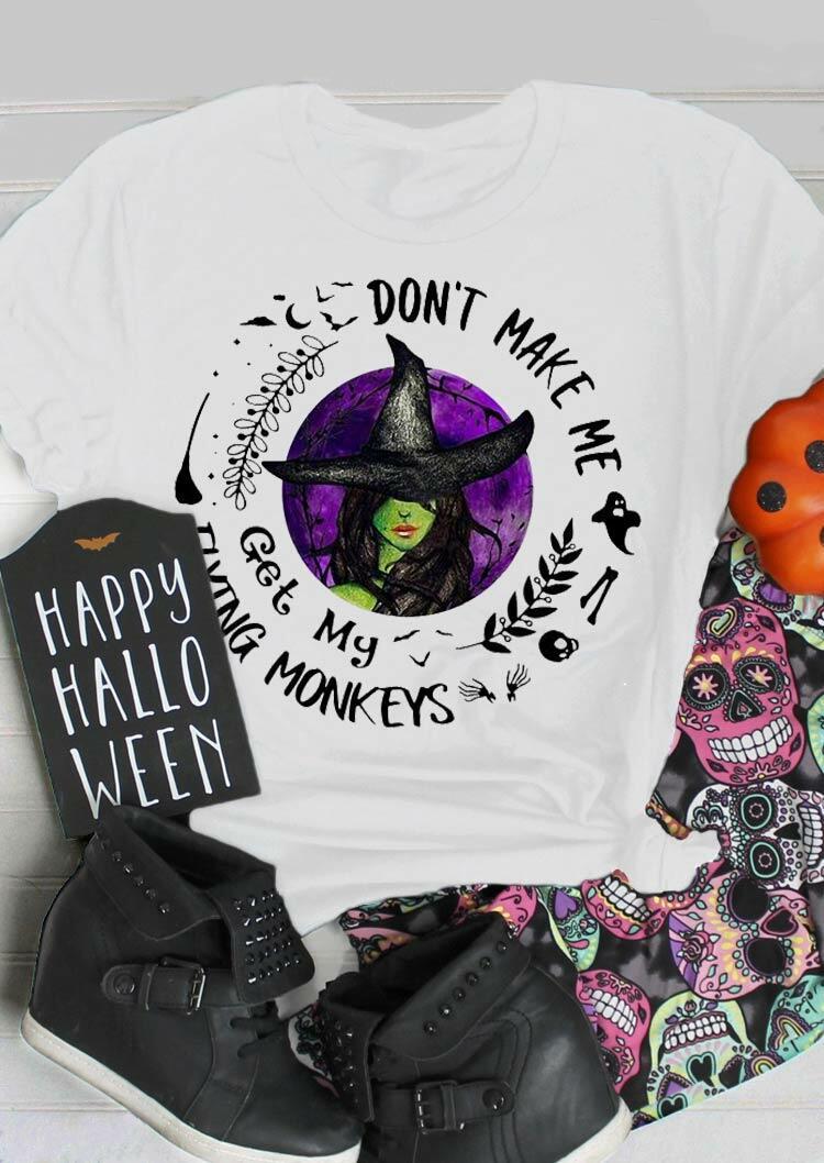 Halloween Flying Monkeys Funny Witch Bat T-Shirt Tee - White