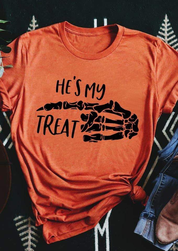 Halloween He's My Treat Skeleton T-Shirt Tee - Orange