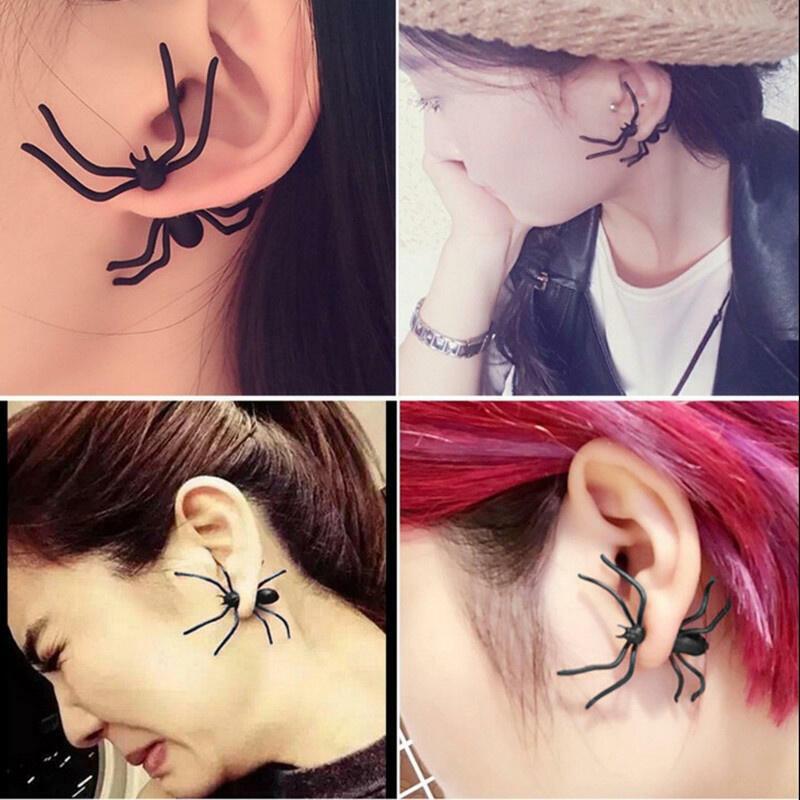 2Pcs Halloween Creepy Spider Stud Earrings