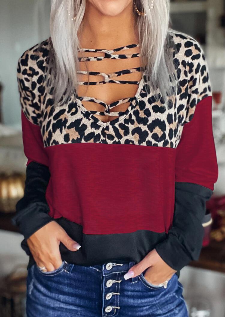 Leopard Color Block Criss-Cross Long Sleeve Blouse - Burgundy