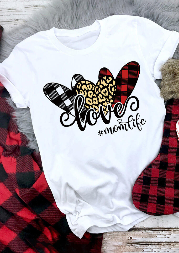 Valentine's Day Love Mom Life Leopard Plaid Heart T-Shirt Tee - White