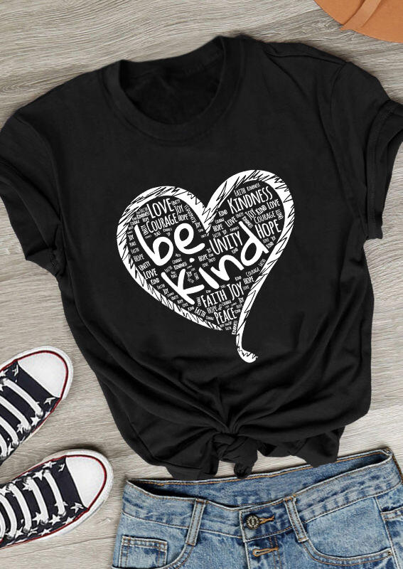 Be Kind Love Heart O-Neck T-Shirt Tee - Black