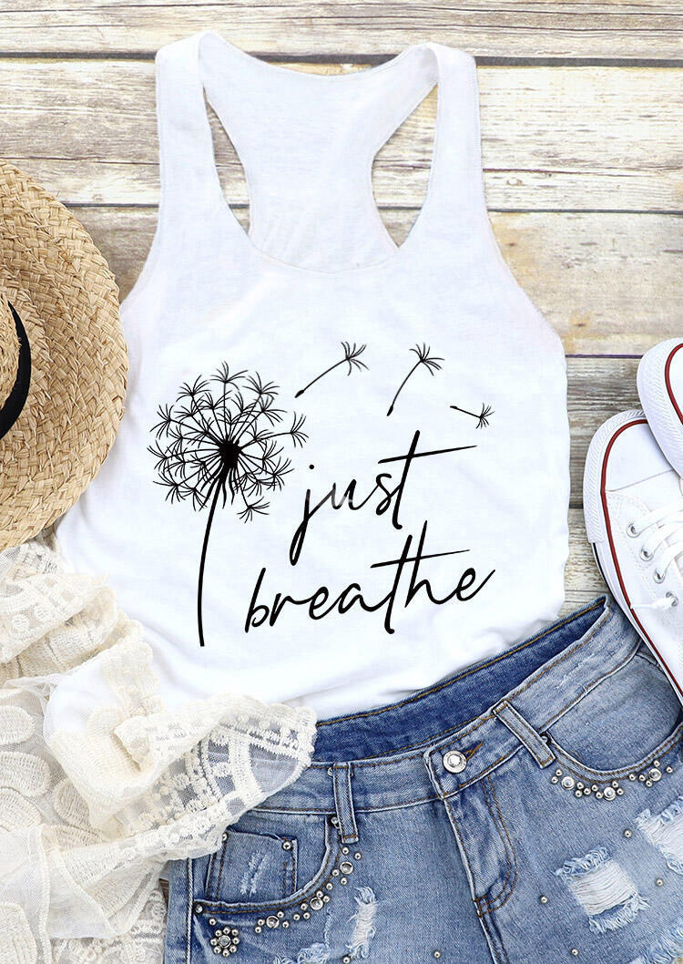 Just Breathe Dandelion Tank - White