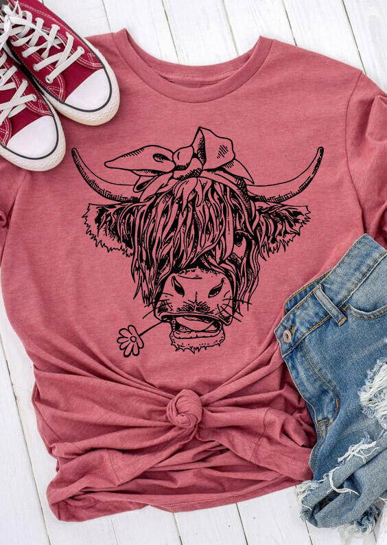 Cute Cattle Cowgirl O-Neck T-Shirt Tee - Cameo Brown