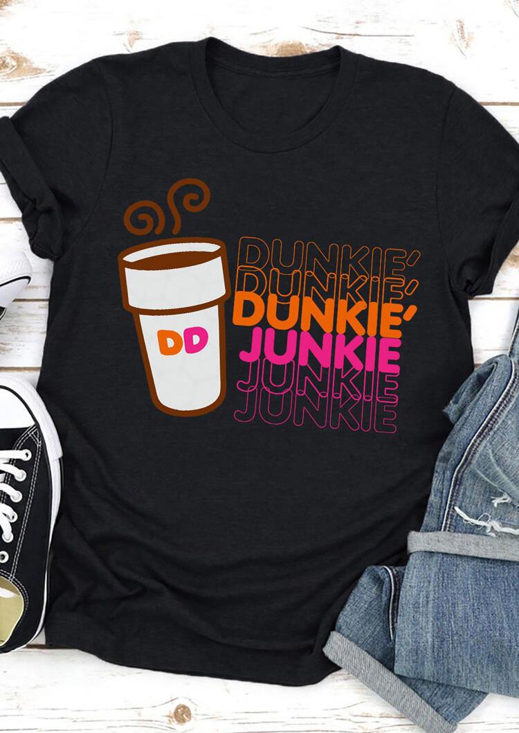 Dunkie Junkie Coffee O-Neck T-Shirt Tee - Black