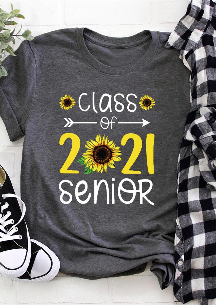 Sunflower Class Of 2021 Senior T-Shirt Tee - Dark Grey