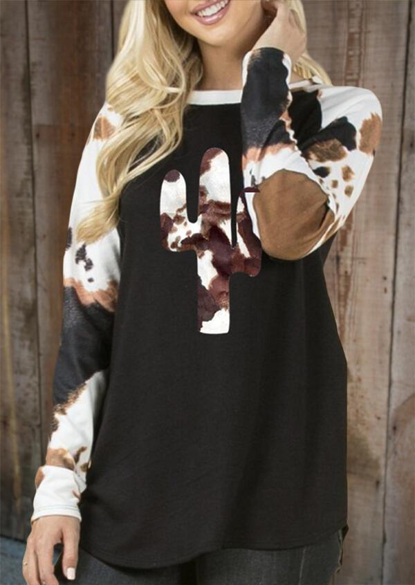 Cactus Cow Elbow Patch Raglan Sleeve Blouse - Black