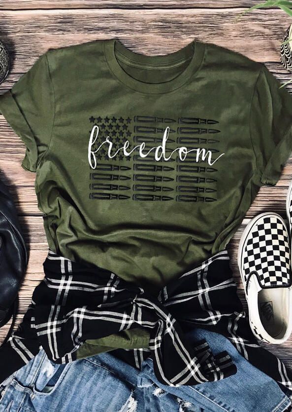 Freedom American Flag T-Shirt Tee - Army Green