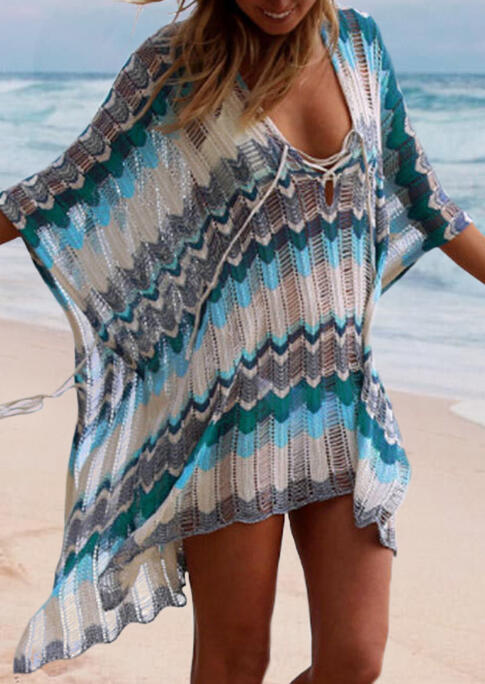 Hollow Out Zigzag Arrow Geometric Cover Up - Blue