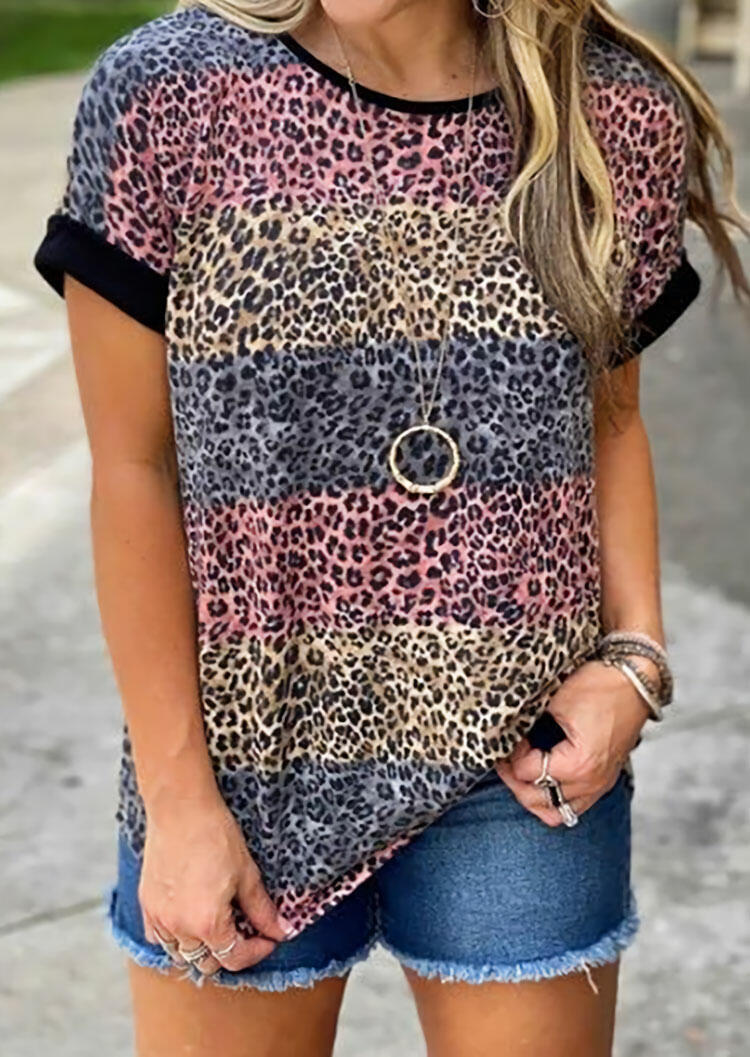 Leopard Striped Color Block T-Shirt Tee without Necklace