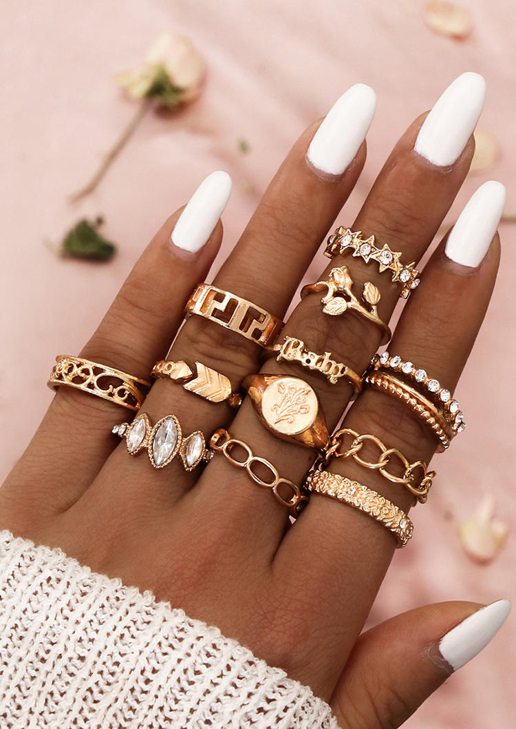 12Pcs Hollow Out Rhinestone Baby Ring Set, Gold, 516881